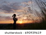young woman doing yoga in... | Shutterstock . vector #690939619