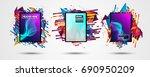 futuristic frame art design... | Shutterstock . vector #690950209