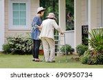 elderly woman exercise walking... | Shutterstock . vector #690950734