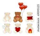 Six Little Bears Isolated On A...