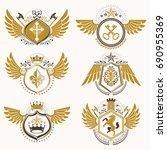 collection of vector heraldic... | Shutterstock .eps vector #690955369