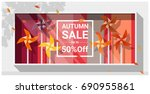 autumn sale window display with ... | Shutterstock .eps vector #690955861
