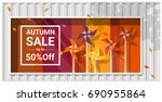 autumn sale window display with ... | Shutterstock .eps vector #690955864