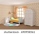 children's room in vintage... | Shutterstock . vector #690958561