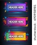 futuristic header frame design... | Shutterstock . vector #690958981