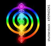 seven chakras vector... | Shutterstock .eps vector #690960241