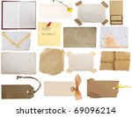 collection of notes, vintage pages, tags, papers.... - stock photo