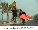 surfers having fun with... | Shutterstock . vector #690964675