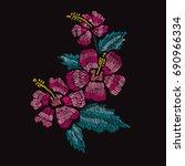 elegant bouquet with hibiscus...   Shutterstock .eps vector #690966334