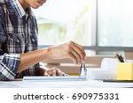 part of confident engineer... | Shutterstock . vector #690975331