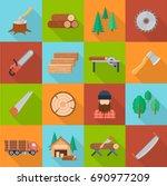 timber industry set. offering... | Shutterstock .eps vector #690977209