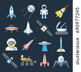 spacecraft shuttle exploration. ... | Shutterstock .eps vector #690977245