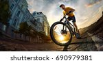 bicycle rider  cycle in city... | Shutterstock . vector #690979381
