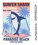 surfer shark illustration with... | Shutterstock .eps vector #690980329