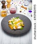 traditional vareniki with sweet ... | Shutterstock . vector #690980995