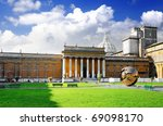 Enclosed court  Gallery's of Vatican, Italy. - stock photo