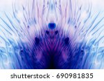 Small photo of Abstract artistic background of thread like colorful splotch similar to lotus mandala. Watercolor gradient from dark blue to light purple