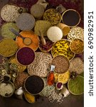 pulses and spices | Shutterstock . vector #690982951