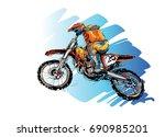 sketch of motorcross sportsman  ... | Shutterstock .eps vector #690985201