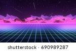 Stock photo  s retro futurism background 690989287