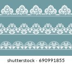 set of white lace curbs on a... | Shutterstock .eps vector #690991855