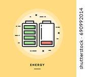 energy  flat design thin line... | Shutterstock .eps vector #690992014