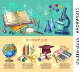 education infographic. modern... | Shutterstock .eps vector #690994315