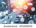 modern and wireless sensor... | Shutterstock . vector #691000045