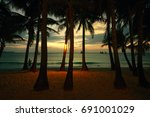 coconut palms on sand beach in... | Shutterstock . vector #691001029