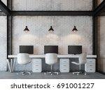 loft style office 3d rendering... | Shutterstock . vector #691001227