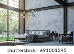 loft style bedroom 3d rendering ... | Shutterstock . vector #691001245