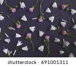 dark floral background. frame... | Shutterstock . vector #691001311