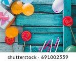 birthday background. birthday... | Shutterstock . vector #691002559