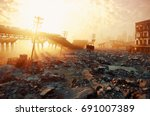 Ruins Of A City. Apocalyptic...