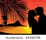 two lovers on the beach with...