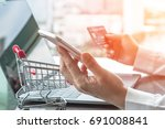 online shopping and e commerce... | Shutterstock . vector #691008841