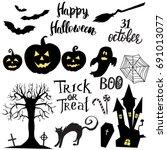 set of halloween elements ... | Shutterstock .eps vector #691013077