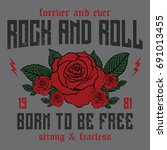 rock and roll slogan  forever... | Shutterstock .eps vector #691013455