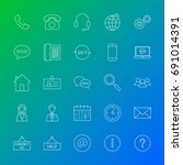 contact us line icons. vector... | Shutterstock .eps vector #691014391