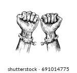 broken handcuff freedom concept ... | Shutterstock .eps vector #691014775