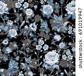 seamless watercolor rose... | Shutterstock . vector #691019947
