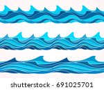 blue wave patterns  seamless... | Shutterstock .eps vector #691025701