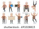 elderly male poses  emotion in...   Shutterstock .eps vector #691028815