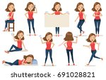 set of  woman character cartoon ... | Shutterstock .eps vector #691028821