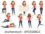 set of  woman character cartoon ... | Shutterstock .eps vector #691028821
