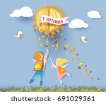 back to school 1 september card ... | Shutterstock .eps vector #691029361
