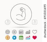 biceps muscle icon. bodybuilder ... | Shutterstock .eps vector #691031695