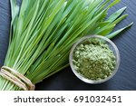 Fresh Young Barley Grass With...