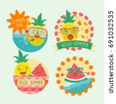 summer pineapple stickers | Shutterstock .eps vector #691032535