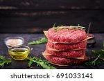 fresh raw homemade minced beef... | Shutterstock . vector #691033141
